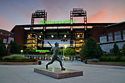 Philadelphia Phillies Stadium Framed Prints - Mike Schmidt Statue at Dawn Framed Print by Bill Cannon
