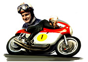 Motorcycle Racing Framed Prints - Mike The Bike  Mike Hailwood Framed Print by Iconic Images Art Gallery David Pucciarelli