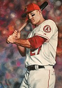 Baseball Paintings - Mike Trout by Agustin Iglesias