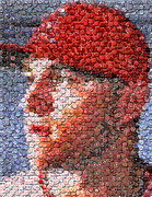 Baseball Cap Mixed Media Posters - Mike Trout Bottle Cap Mosaic Poster by Paul Van Scott