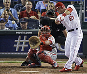 Baseball Bat Photo Prints - Mike Trout hitting the ball Print by Sanely Great