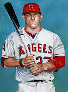 Sports Art Metal Prints - Mike Trout - LA Angels of Anaheim Metal Print by Michael  Pattison