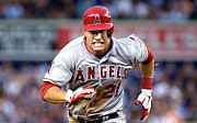 Baseball Bat Photo Framed Prints - Mike Trout Framed Print by Sanely Great