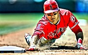 First Baseman Framed Prints - Mike Trout Painting Framed Print by Florian Rodarte