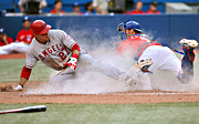 Baseball Bat Photo Prints - Mike Trout sliding Print by Sanely Great