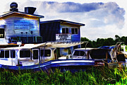 Boats On Water Digital Art Posters - Mikeys On the Bayou Poster by Barry Jones