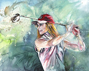 Sport Art - Miki Self Portrait Golfing by Miki De Goodaboom