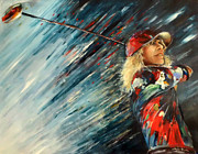 Sport Art - Miki Self Portrait with Driver by Miki De Goodaboom