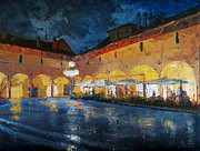 Night Cafe Framed Prints - Milan Italy Piazza Ducale Vigevano Framed Print by Christopher Clark