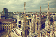 Old Milano Prints - Milan Italy View on Royal Palace  Print by Michal Bednarek