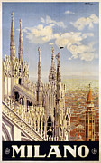 Duomo Cathedral Digital Art Prints - Milano Italy Print by Nomad Art And  Design