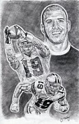 Pro Football Drawings Posters - Miles Austin Poster by Jonathan Tooley