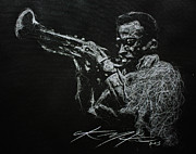 Jazz Drawings Prints - Miles Print by Chris Mackie