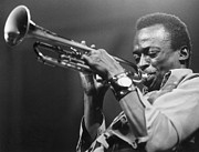 Miles-davis Framed Prints - Miles Davis and his Trumpet Framed Print by Sanely Great