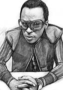 Most Drawings Metal Prints - Miles davis art drawing sketch portrait Metal Print by Kim Wang