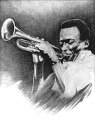 Trumpet Player Drawings - Miles Davis by Gordon Van Dusen