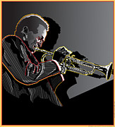 Music Legend Digital Art Framed Prints - Miles Davis Legendary Jazz Musician Framed Print by Larry Butterworth