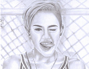 Earrings Drawings Prints - Miley Print by Brian Mako