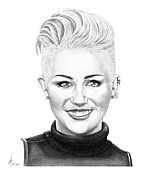 Famous People Drawings - Miley Cyrus New Look by Murphy Elliott