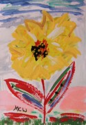 Primitive Drawings - Miley-Flowers from the Flower Patch by Mary Carol Williams