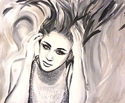 Cyrus Paintings - Miley by LLaura Burge
