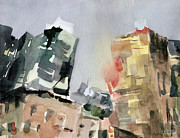 Urban Watercolour Framed Prints - Milford Plaza 8th Avenue Watercolor Painting of New York Framed Print by Beverly Brown Prints
