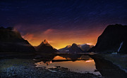 Startrails Photo Originals - Milford sound with startrails 3 by Weerapong Chaipuck