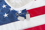 Enlisted Framed Prints - Military Dog Tags on Flag Framed Print by Cheryl Casey