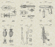 Technical Art Drawings Prints - Military Equipment Patent Collection Print by PatentsAsArt