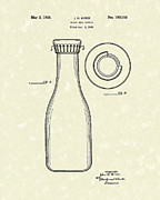 Container Drawings Prints - Milk Bottle 1938 Patent Art Print by Prior Art Design