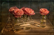Milk Bottle Roses Print by Ann Garrett