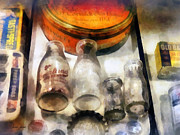 Bottlecaps Metal Prints - Milk Bottles in Dairy Case Metal Print by Susan Savad