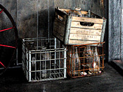 Milk Crates Prints - Milk Bottles Print by Susan Savad