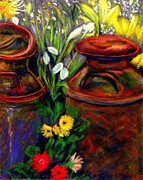 Greens Pastels Framed Prints - Milk Cans at Flower Show  Pastel Framed Print by Antonia Citrino