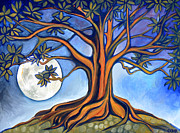 Tree Roots Paintings - Milk Moon Rising by Cedar Lee