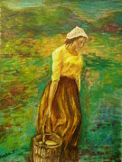 Oil Painting Originals - Milkmaid by Lavinia Paduraru