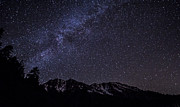 Milky Way Above Snow Capped Mountains Print by Brad Scott