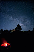 Mancave Photos Prints - Milky Way and Campfire Print by Melany Sarafis