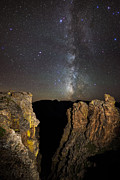 Stars Trail Prints - Milky Way Skies Over Rock Cut Print by Mike Berenson