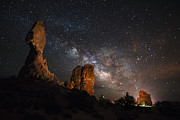 Suspension Posters - Milky Way Suspension At Balanced Rock Poster by Mike Berenson
