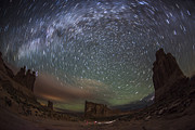 Rotation Photos - Milky Way Swirls Over Arches Park Avenue by Mike Berenson