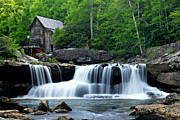Water Mill Images Prints - Mill and Waterfall Print by Larry Ricker