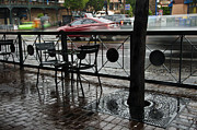 Tables Framed Prints - Mill Avenue Rain in Tempe Arizona Framed Print by Dave Dilli