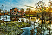 Agriculture Digital Art Metal Prints - Mill by the river Metal Print by Jaroslaw Grudzinski