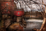 Water Flowing Posters - Mill - Clinton NJ - The mill and wheel Poster by Mike Savad