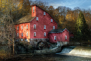 Water Fall Framed Prints - Mill - Clinton NJ - The old mill Framed Print by Mike Savad