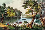 Row Boat Drawings - Mill Cove Lake by Currier and Ives