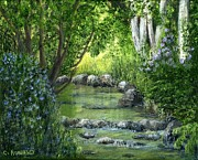 Waterfalls Paintings - Mill Creek Spring by Catherine Howard