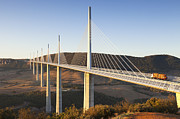 Bridge Prints - Millau Viaduct at Sunrise Midi Pyrenees France Print by Colin and Linda McKie
