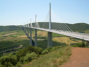 South Of France Framed Prints - Millau Viaduct Framed Print by Tommy Budd